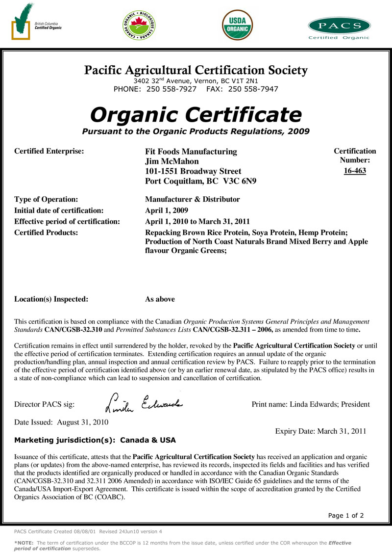Fit Foods Awarded Organic Certificate